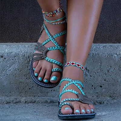 Summer Handmade Breathable Bandage Beach Flat Sandals_1