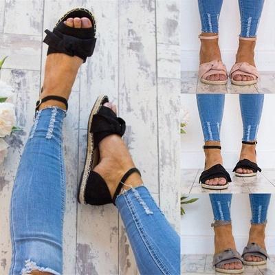 Bride à la cheville appartements lacets chaussures sandales espadrilles en daim_2