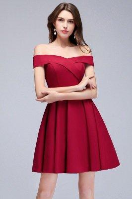 MAMIE | Una línea de hombro corto borgoña vestidos de regreso al hogar_3