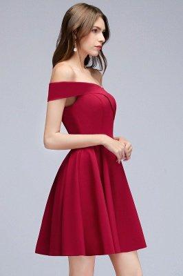 MAMIE | Una línea de hombro corto borgoña vestidos de regreso al hogar_7