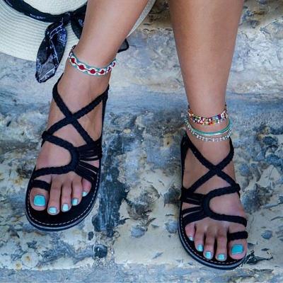 Summer Handmade Breathable Bandage Beach Flat Sandals_2