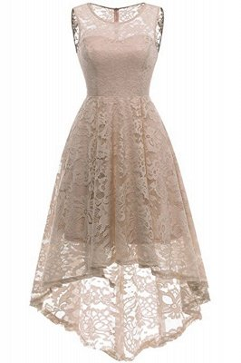 Women Floral Lace Bridesmaid Party Dress Short Prom Dress V Neck_15