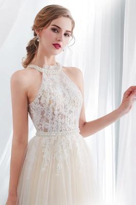 NATALIA   A-line Halter Floor Length Appliqued Tulle Evening Dresses_7