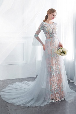 NAOMI | Gaine manches longues pure encolure appliques fleurs robes de soirée_5