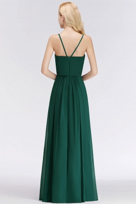 NICOLA | A-line Floor Length V-neck Spaghetti Chiffon Bridesmaid Dresses_3