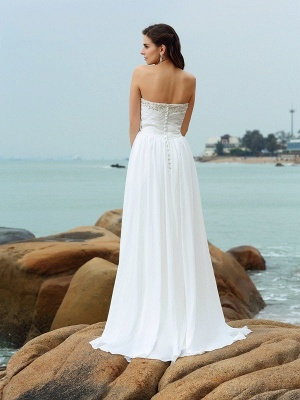 A-Line Sweetheart Sleeveless Beading Long Chiffon Beach Wedding Dresses_3