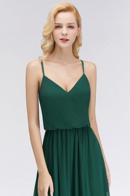 NICOLA | A-line Floor Length V-neck Spaghetti Chiffon Bridesmaid Dresses_7