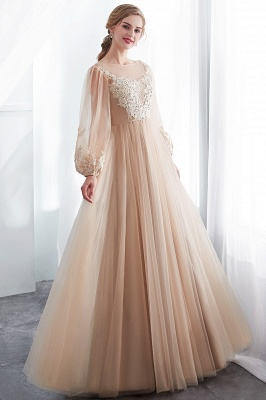 NATALIE | A-line Long Sleeves Appliques Tulle Champagne Evening Dresses_7