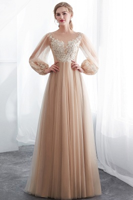 NATALIE | A-line Long Sleeves Appliques Tulle Champagne Evening Dresses_5