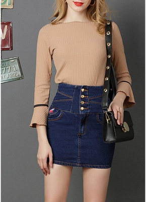 Denim High Waist Embroidery Button Solid Slim Bodycon Mini Skirt_3