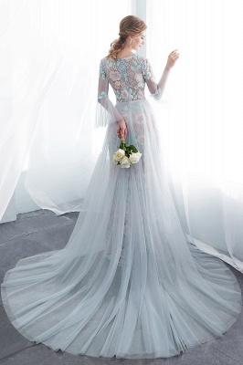 NAOMI | Gaine manches longues pure encolure appliques fleurs robes de soirée_3