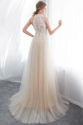 NATALIA   A-line Halter Floor Length Appliqued Tulle Evening Dresses_3