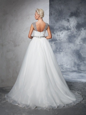 Long Tulle Ball Gown Straps Ruched Sleeveless Wedding Dresses_3