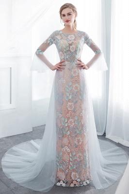NAOMI | Gaine manches longues pure encolure appliques fleurs robes de soirée_1