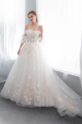 NANCE | Ball Gown Off-the-shoulder Floor Length Appliques Tulle Wedding Dresses_4