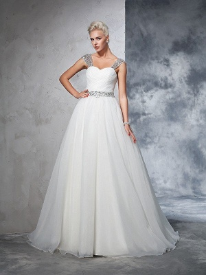Long Tulle Ball Gown Straps Ruched Sleeveless Wedding Dresses_4