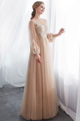 NATALIE | A-line Long Sleeves Appliques Tulle Champagne Evening Dresses_4