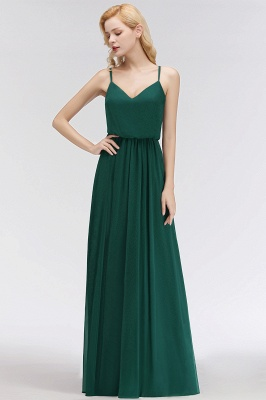 NICOLA | A-line Floor Length V-neck Spaghetti Chiffon Bridesmaid Dresses_5