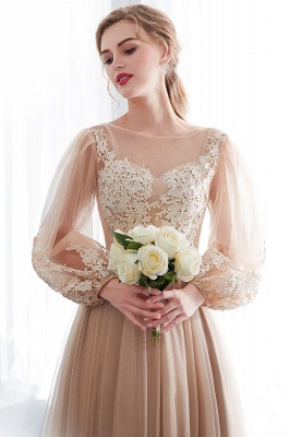 NATALIE | A-line Long Sleeves Appliques Tulle Champagne Evening Dresses_8