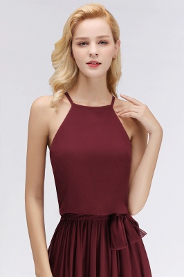 NICOLE | A-line Halter Sleeveless Long Burgundy Ruffles Chiffon Bridesmaid Dresses_7