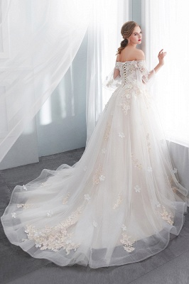 NANCE | Ball Gown Off-the-shoulder Floor Length Appliques Tulle Wedding Dresses_3