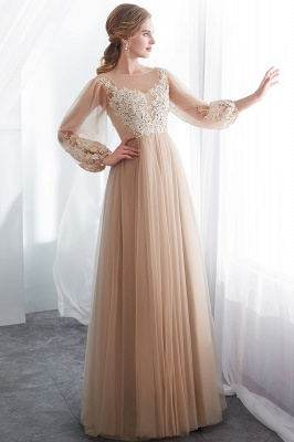 NATALIE | A-line Long Sleeves Appliques Tulle Champagne Evening Dresses_1
