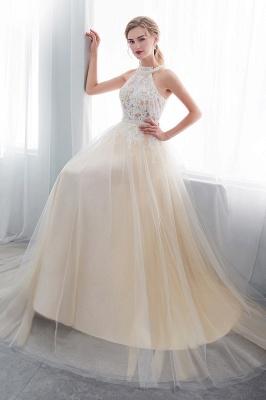 NATALIA | A-line Halter Floor Length Appliqued Tulle Evening Dresses_1