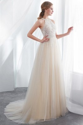 NATALIA | A-line Halter Floor Length Appliqued Tulle Evening Dresses_6