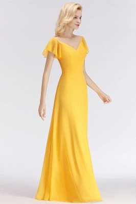NINA | A-line Long V-neck Short Sleeves Chiffon Bridesmaid Dresses_4