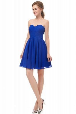 NETTIE | Aline Short Sweetheart Strapless Chiffon Blue Homecoming Dresses_5