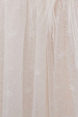 NANCY | A-line Sleeveless Floor Length Lace Ivory Wedding Dresses_12