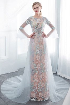 NAOMI | Mantel langen ?rmeln Sheer Ausschnitt Appliqued Blumen Abendkleider_1
