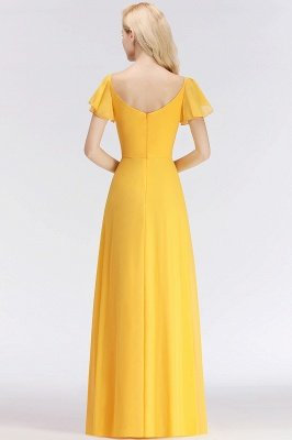 NINA | A-line Long V-neck Short Sleeves Chiffon Bridesmaid Dresses_3