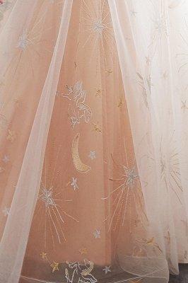 NANETTE | A-ligne manches longues Tulle Appliques Robes de soirée Champangne ??avec ceinture_10