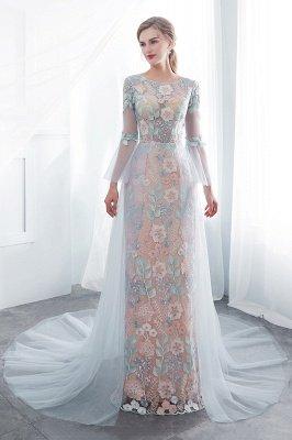 NAOMI | Mantel langen ?rmeln Sheer Ausschnitt Appliqued Blumen Abendkleider_7