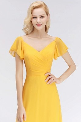 NINA | A-line Long V-neck Short Sleeves Chiffon Bridesmaid Dresses_6