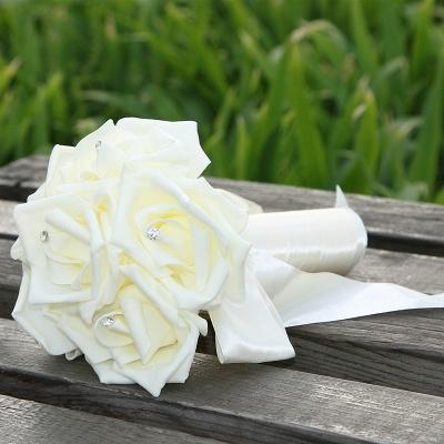 Einfacher Silk Rose-Hochzeits-Blumenstrauß in den mehrfachen Farben_2
