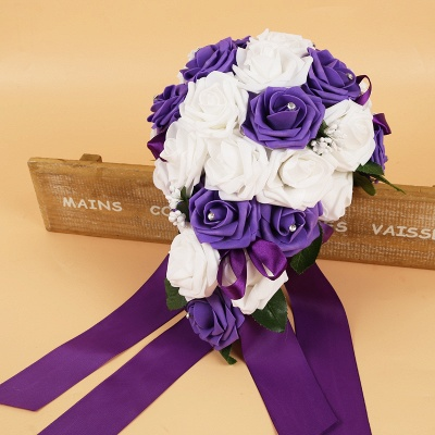 Bunter Seidenrosen-Hochzeits-Blumenstrauß mit Bändern_6