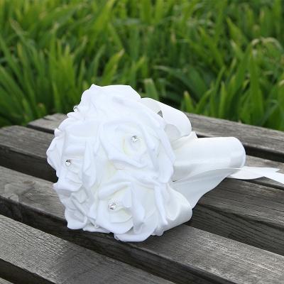Einfacher Silk Rose-Hochzeits-Blumenstrauß in den mehrfachen Farben_1