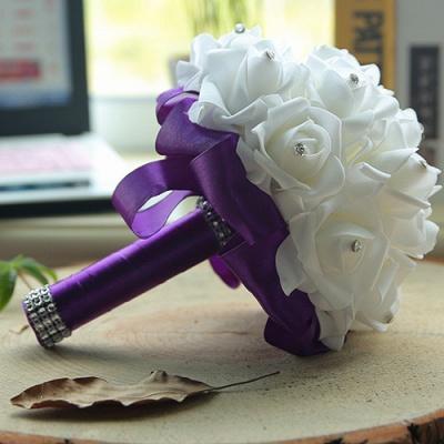 باقة الزفاف من الحرير الأبيض مع مقابض ملونة_7