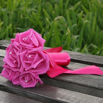 Einfacher Silk Rose-Hochzeits-Blumenstrauß in den mehrfachen Farben_6