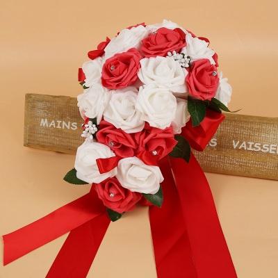 Bunter Seidenrosen-Hochzeits-Blumenstrauß mit Bändern_3