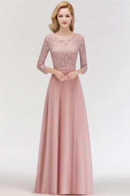 3a0903e91e4d6 MARIAN | A-line Floor Length Lace Chiffon Bridesmaid Dresses with Sleeves