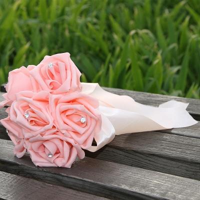 Einfacher Silk Rose-Hochzeits-Blumenstrauß in den mehrfachen Farben_4