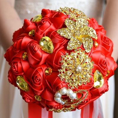 Bunte Seide Rose Crystal Friesen Hochzeitsstrauß_5