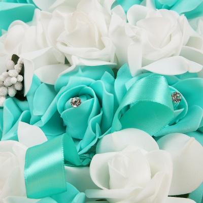 Bunter Seidenrosen-Hochzeits-Blumenstrauß mit Bändern_11