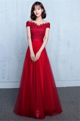 Tulle Lace Elegant Off Red Shoulder A-Line Evening Dresses