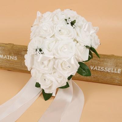 Bunter Seidenrosen-Hochzeits-Blumenstrauß mit Bändern_1