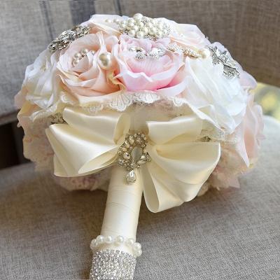 Beading de cristal brilhante Bouquet de noiva de seda rosa em branco e rosa_3
