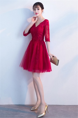 MARGE   A-line V-образным вырезом Half Sleeves Tulle Appliques Homecoming Dresses_7